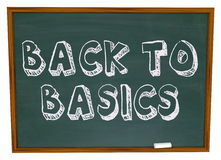 Back to Basics - Chalkboard. The words Back to Basics written on a chalkboard stock images