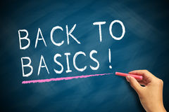Back To Basics. Hand with red chalk writing Back To Basics on chalkboard royalty free stock photos