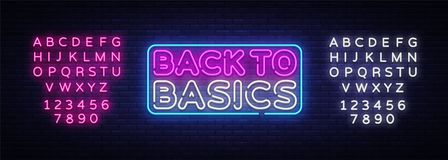 Back to Basics neon text vector design template. Back to Basics neon logo, light banner design element colorful modern royalty free stock photography