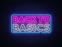 Back to Basics neon text vector design template. Back to Basics neon logo, light banner design element colorful modern stock illustration