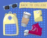 Back to college set of objects. Youth fashion accessories. Stock Images