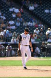Back to first. Colorado Rockies first basemen Todd Helton heads back to first base after a bunt attempt stock images