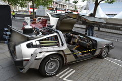 Back to the Future car. Replica from movie Back to the Future car, DeLorean DMC-12 Stock Images
