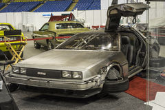 Back to the future. Montreal october 10-12, 2014 picture of silver delorean sports car.This type of vintage car was used in the movie back to the future Stock Photography