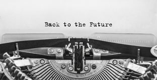 Back to the Future typed words on a old Vintage Typewriter. Close up Royalty Free Stock Photography