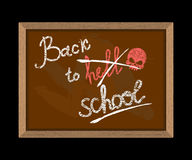Back to hell (crossed out in school) and skull. Hooligan Inscrip Stock Images