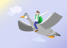 Back to Knowledge Flight. Happy boy with backpack waving sits on flying goose which wings look like book pages. Back to school, studying and reading concept Royalty Free Stock Photography