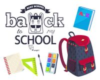 Back to My School Cartoon Style Sticker with Bags. Back to my school black and white cartoon style sticker with inscription. Vector of backpack along with Royalty Free Stock Photo