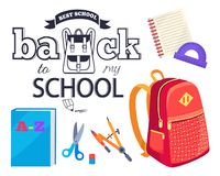 Back to My School Cartoon Style Sticker with Bags. Back to my school black and white cartoon style sticker with inscription. Vector of backpack along with Royalty Free Stock Image