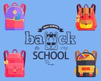 Back to My School Cartoon Style Sticker with Bags Royalty Free Stock Photo
