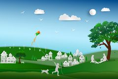 Back to nature and save the environment concept,family love the dog happy and relax in the meadow,paper art design royalty free illustration