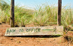 'Back to office' sign board - closeup Stock Photo