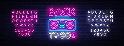 Back to 90s neon poster, card or invitation, design template. Retro tape recorder neon sign, light banner. Back to the. 90s. Vector illustration in trendy 80s royalty free illustration