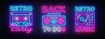 Back to 90s neon poster collection, card or invitation, design template. Retro tape recorder cassettes neon sign. Gramophone symbol, light banner. Back to the royalty free illustration