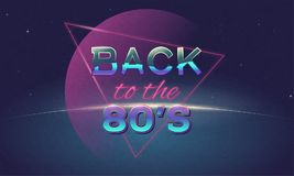 Back to 80`s poster. Retro style back to eighties banner. Vintage neon 80`s or 90`s poster. Music club or disco wallpaper. Background with Sun rising above Stock Photo