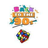 Back to 90s poster template with cube combination puzzle Royalty Free Stock Photos