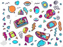 Back to the 90s. Set of stickers, pins, patches in trendy 80s-90s memphis style. Set of fashion patches, cute badges, fun icons vector stock illustration