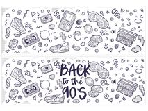 Back to the 90s. Vector illustration in trendy 80s-90s style. Set of fashion patches, cute badges, fun icons vector stock illustration