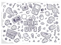 Back to the 90s. Vector illustration in trendy 80s-90s style. Set of fashion patches, cute badges, fun icons vector royalty free illustration