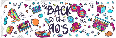 Back to the 90s. Vector illustration in trendy 80s-90s style. Set of fashion patches, cute badges, fun icons vector vector illustration