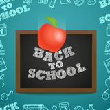 Back to scholl concept. Falling apple to the letters Royalty Free Stock Photos