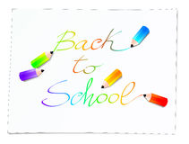Back to school. Vector illustration that depicts the words Back to school and some crayons that draw on a sheet of paper Stock Photo