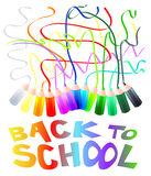 Back to school. Vector illustration that depicts a series of wooden pencils of different colors and the traces they leave drawing. Below is an inscription that Royalty Free Stock Photography