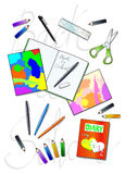 Back to school. Vector illustration that depicts a set of materials for school: pens, colored pencils, notebooks, diaries, rulers. In the background is the Royalty Free Stock Photo