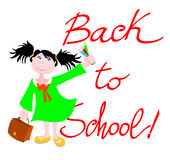 Back to school!. Vector illustration that depicts a smiling girl wielding colored pencils and the background reads: Back to school Stock Photography