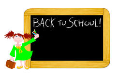 Back to school!. Vector illustration depicting a blackboard with the words Back to school! and a girl while holding some colored pencils Royalty Free Stock Photography