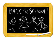 Back to school!. Vector illustration which depicts a drawing board with a group of children and the words Back to school Stock Photography