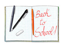 Back to school!. Vector illustration depicting a notebook opened on some pens and the words Back to school Stock Photography