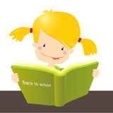 Back to school. Vector illustration, cute little girle studying a book Royalty Free Stock Photo