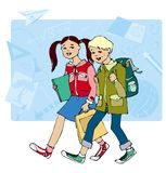 Back to school. Boy and girl coming to school, blackboard in the background vector illustration