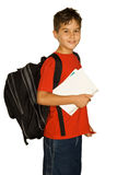 Back to school. Young boy is ready for school isolated on white royalty free stock photography