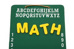 Back to School. A green chalk board with the word math isolated on a white background, back to school Stock Photos