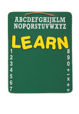 Back to School. A green chalk board with the word learn isolated on a white background, back to school Stock Photo