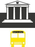 Back to school. Illustration with school building and a bus Stock Photos