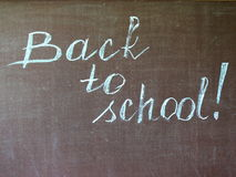 Back to school. Inscription on a chalkboard Stock Photo