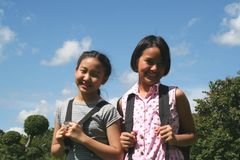 Back to school. Two girls having a good time Royalty Free Stock Images