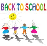 Back to school. Illustration with cute kids holding hands and smiling sun Stock Photos