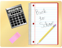Back to School. Complete with notebook, calculator, pencil and eraser Stock Photos