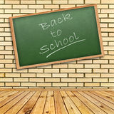 Back to school!. Theme in interior with brick wall and wooden floor royalty free stock images
