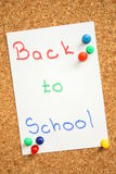 Back to school. Is written on paper Royalty Free Stock Images