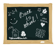 Back to School. Vector illustration - the school board with children's drawings royalty free illustration