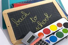 Back to school. School supplies on white background stock images