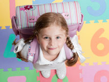 Back to school. Happy girl ready for school Stock Image