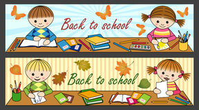 Back to school. Two banners with cute children in the school Stock Images