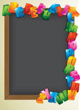 Back to school. Illustration with school board with colorful letters Royalty Free Stock Photography