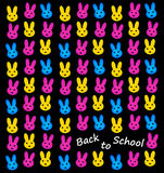 Back to school. Sign with colorful and happy bunnies stock illustration